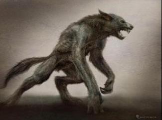 A ferocious looking man and dog-like hybrid