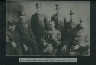 Police Department and Mayor - 1907 L-R J. C. Carlisle, H. W. Smith, E. J. Walters, Mayor C. C. Anderson, O. A. Sorg, h. J. Noble, George Strouse