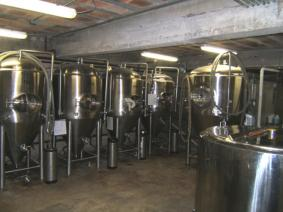 The vats in the brewing area